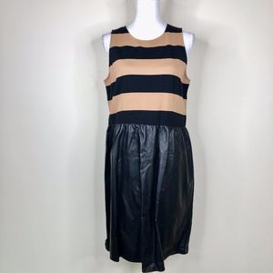 Tinley Road Faux Leather & Striped Dress NWT